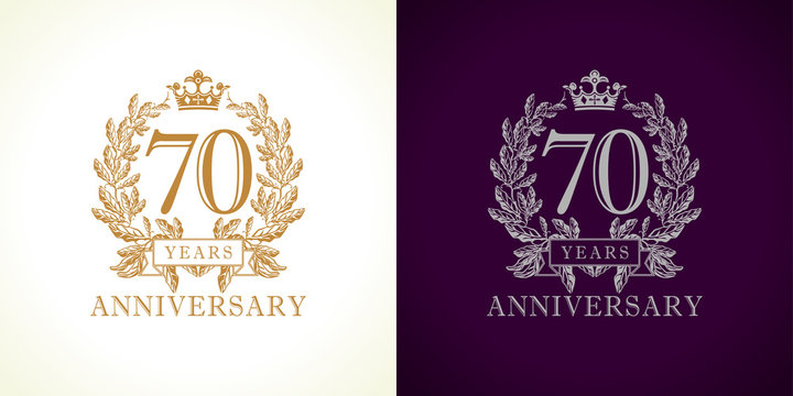 70 anniversary luxury logo. Template logo 70th royal anniversary with a frame in the form of laurel branches and the number seventy.