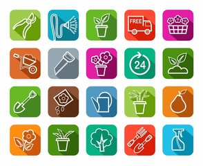 Gardening, icons, line, color background.