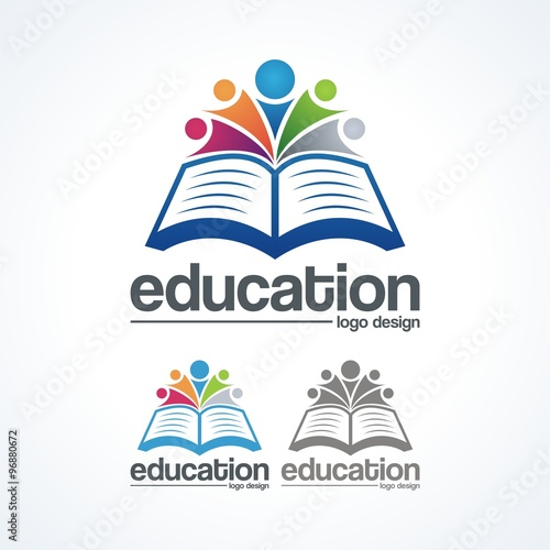 Creative Book Logo Design : Quot education logo book and abstract people creative
