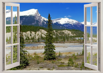 Open window view to Rockies Mountains, Banff, Canada