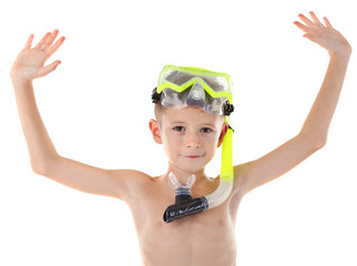 Happy boy with yellow diving mask hands up isolated on white background