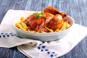 Roast chicken and potato chips