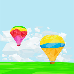 Lowpoly Air Balloons on Bright Sky