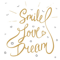 Smile, love, dream with little hearts, clouds and smile