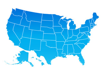 Map of the United States of America. USA map, blue color.