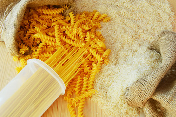 Pasta vs Rice half pasta and half rice  pasta and rice
