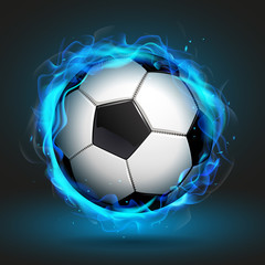 Soccer ball in blue flame