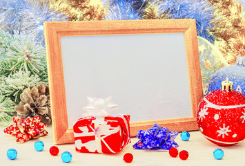Frame and decorations for Christmas