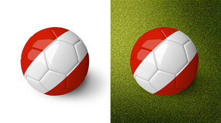 3d realistic soccer ball with the flag of Austria on it isolated on white background and on green soccer field. See whole set for other countries.