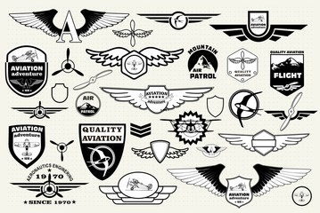 Set retro emblems, design elements , badges and logo. Aviation