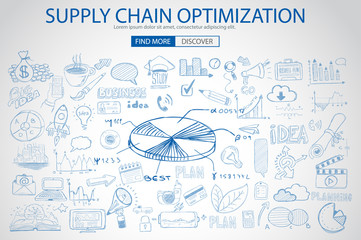 Supply Chain optimization concept with Doodle design style