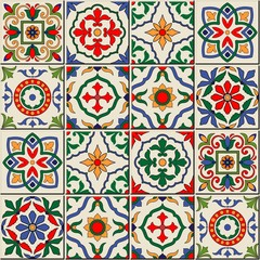Photo sur Toile Tuiles Marocaines Gorgeous seamless pattern . Moroccan, Portuguese tiles, Azulejo, ornaments.