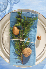Place setting idea: mix-and-match plates,  evergreen plants, nuts and twine
