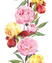 Peony and iris flowers. Seamless border frame. Watercolor