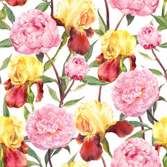 Seamless floral pattern. Peonies flowers and irises. Watercolor