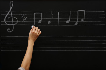 View on girl's hand writing at the blackboard with musical notes, close-up