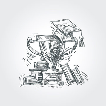 hand drawn sketch education, school. vector illustration