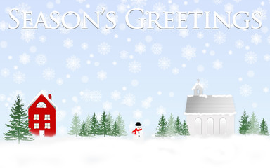 Winter Illustration with red house and church and snowman with large snowflakes falling.  Season's Greetings text above.
