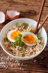 Soft egg slices in chinese soup