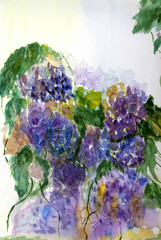 Painted in watercolor bouquet of lilacs .