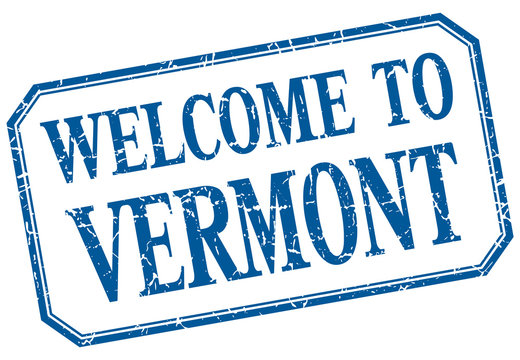 Vermont - welcome blue vintage isolated label