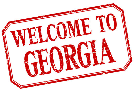 Georgia - welcome red vintage isolated label