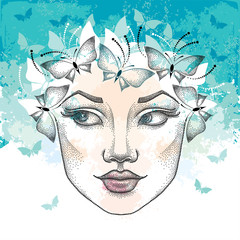 Dotted beautiful woman face on the textured turquoise background with blots and butterflies. Concept of spring and female beauty in dotwork style.