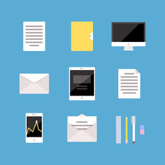 Set of Office and Business icons, letter, tablet pc, computer, folder, document, mobile phone, diagram, analytics