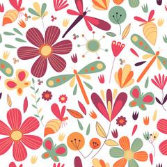 Ornate seamless flower pattern.