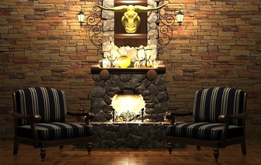 Stone fireplace and chairs