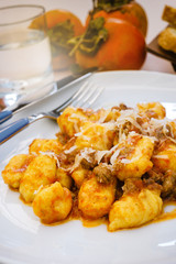 Gnocchi with meat sauce