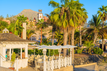 A view of cafe building on El Duque beach on southern coast of Tenerife, Canary Islands, Spain