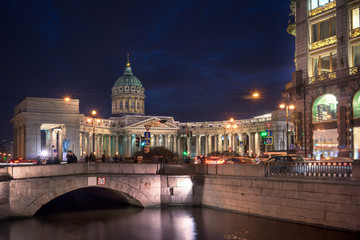 Fototapete - Kazan Cathedral or Kazanskiy Kafedralniy Sobor at night, St. Petersburg