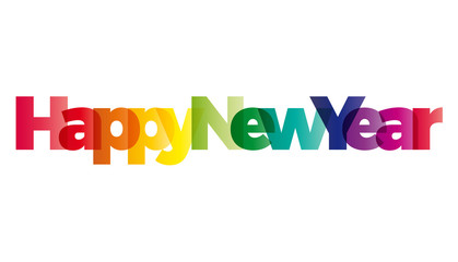 The word Happy New Year. Vector banner with the text colored rai