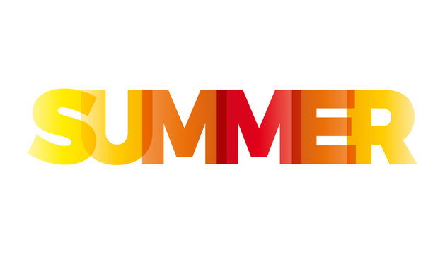 The word Summer. Vector banner with the text colored rainbow.