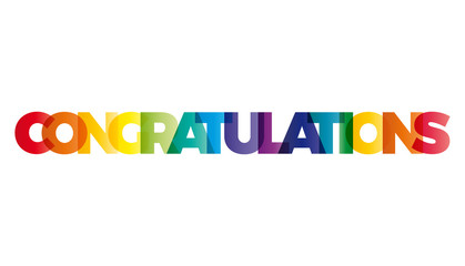 The word Congratulations. Vector banner with the text colored ra