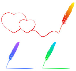 drawing with a  colour feather, vector