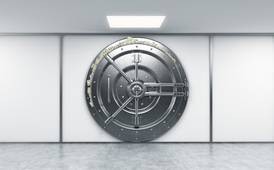 3D rendering of a big locked round metal safe in a bank deposito