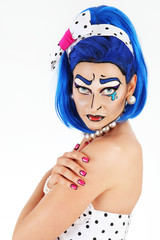 portrait model makeup with blue wig, on white background, pop co