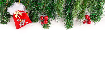 Christmas tree and baubles branches background