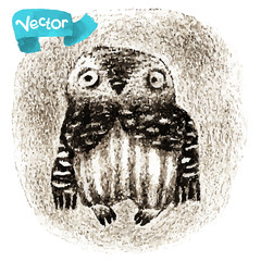Vector Little Owl Sitting In a Hollow