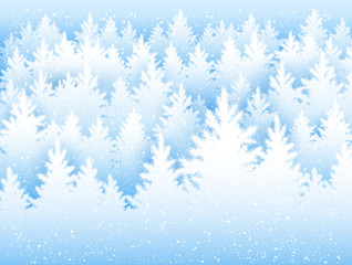 Christmas background with winter forest