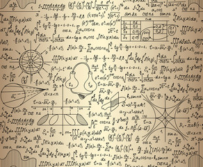 """Scientific vector seamless pattern with physical and mathematical drawings, task solutions, plots, designs, formulas, """"handwritten on the old paper"""""""