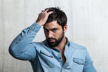 Portrait of a Bearded Man control hair