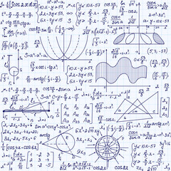 "Mathematical vector seamless pattern with formulas, plots, task solutions, ""handwritten on a copybook paper"""
