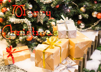 Christmas typography, Merry Christmas concept on blur background