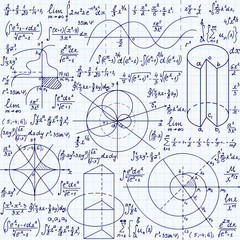 "Math vector seamless texture with formulas, plots, algebraic and geometric figures and functions, ""handwritten on a grid copybook paper"""