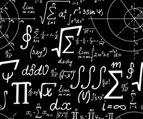 Mathematical vector seamless texture with various mathematical signs, calculations and formulas