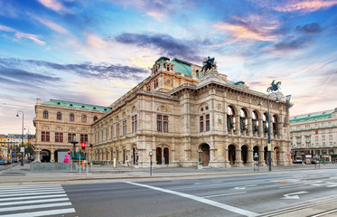 Poster Theater State Opera at sunrise - Vienna - Austria