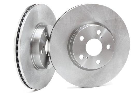 brake discs on a white background. car parts